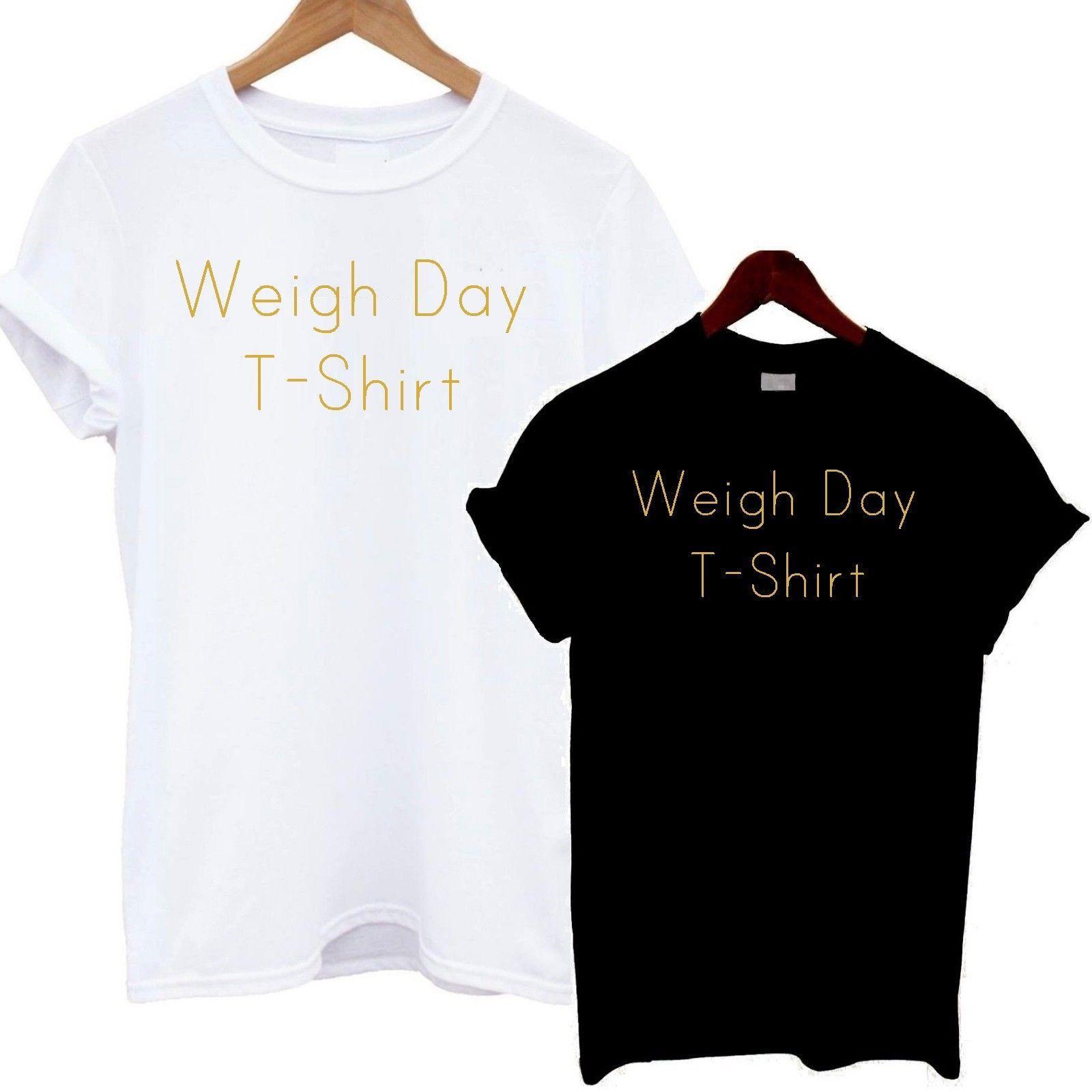 Weigh Day T Shirt Gold Print Tee Top Cute Slogan Fashion Love Gym