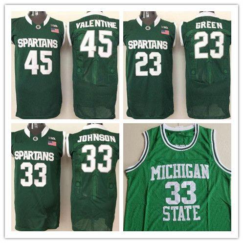 low priced 5e5aa 522d6 NCAA Michigan State Spartans Magic Johnson Basketball Jersey Draymond Green  Denzel Valentine MSU College Jerseys