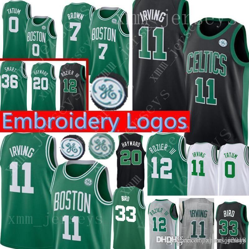 half off 2ea59 f79cc Boston Kyrie 11 Irving Celtics Jersey 7 Jaylen # Brown Jayson 0 Tatum Terry  12 Rozier Larry 33 Bird Gordon 20 Hayward 42 Horford Jerseys