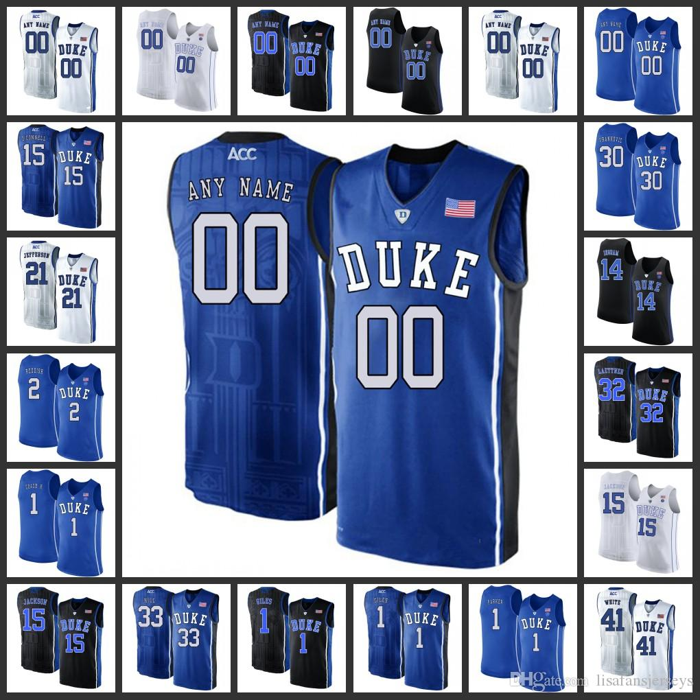 best website d4f8e 4f7c1 Custom Duke Blue Devils Basketball Jerseys Mens Home Road Away white black  blue 2019 Stitched College duke blue devils basketball Jersey