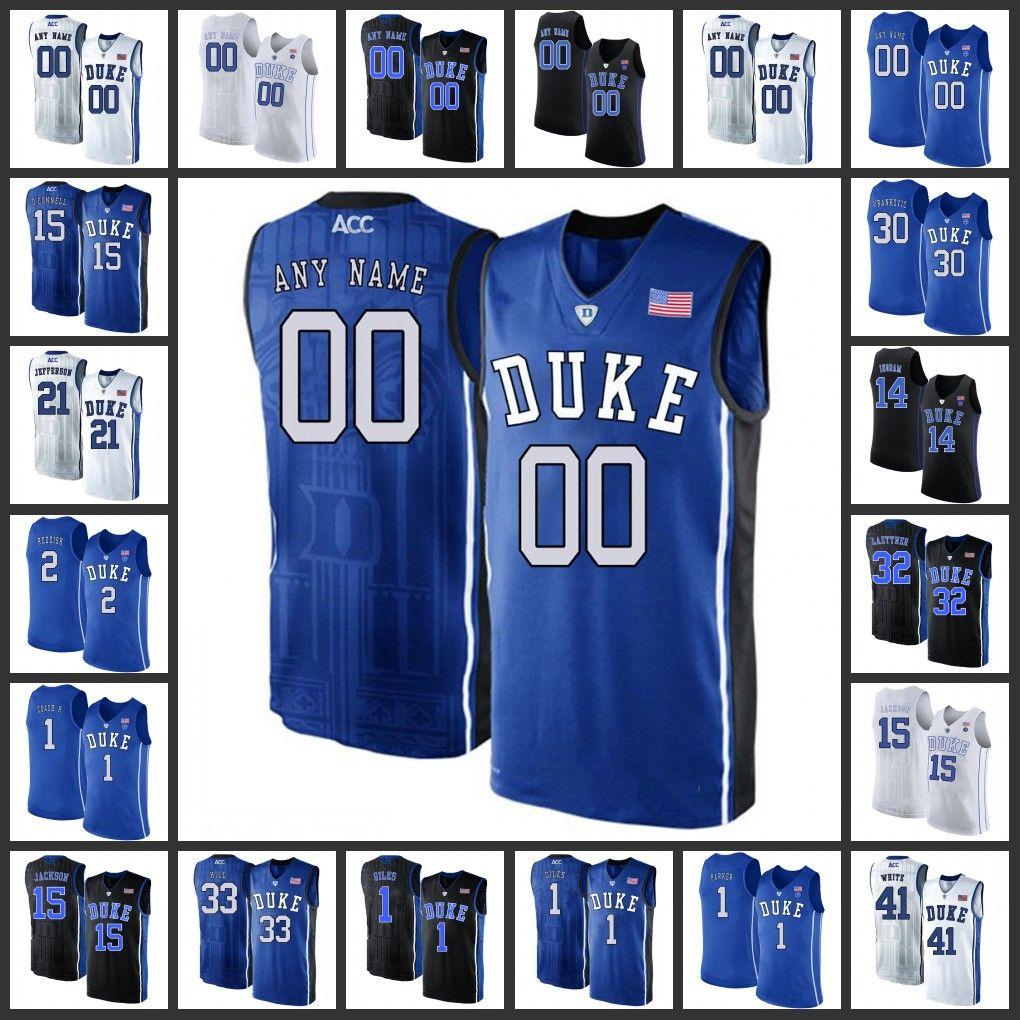 bc3ec7d0359 2019 Custom Duke Blue Devils Basketball Jerseys Mens Home Road Away White  Black Blue 2019 Stitched College Duke Blue Devils Basketball Jersey From ...