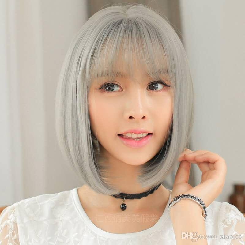 Short Hair Wig See Through Bang Korea Girl Grey Colorful Partysu