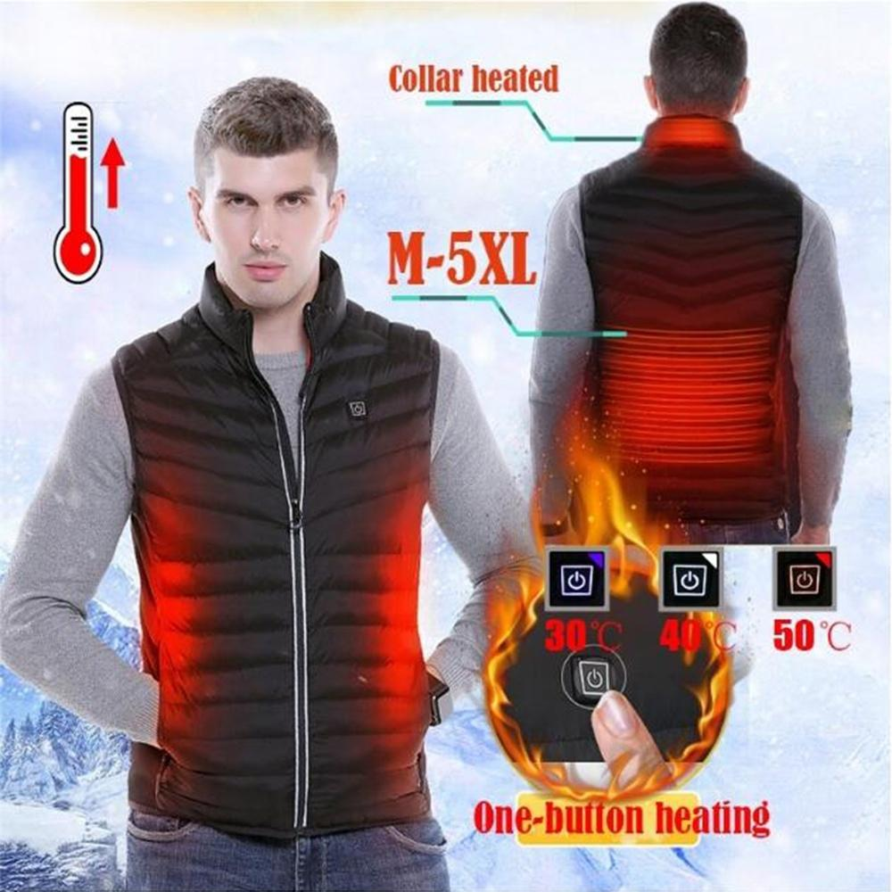 Newest Intelligent Electric Battery Heated Heating Vest Warm Up Zipper Sleeveless Jacket Wind Resistant Vests M-5XL