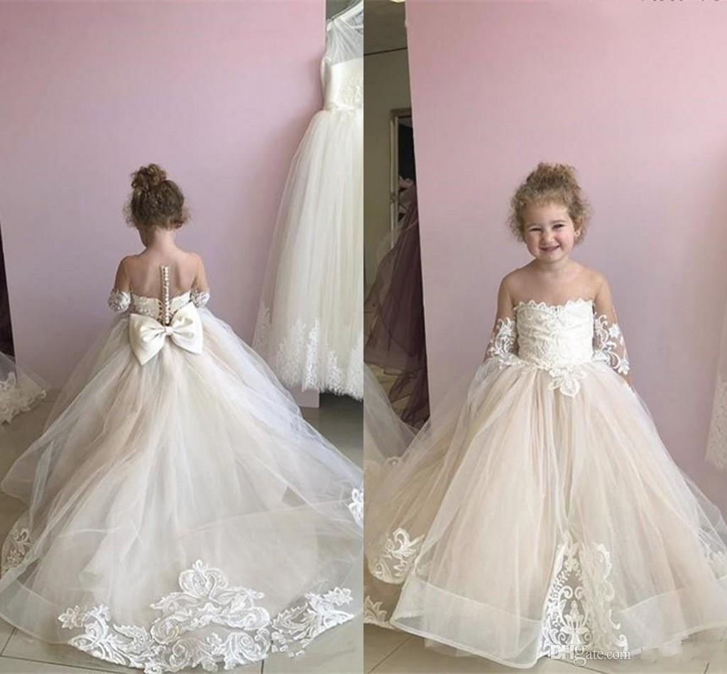 New Cheap Lovely Flower Girls Dresses Illusion Neck Lace Appliques Tulle Long Sleeves Sheer Back Bow Puffy Birthday Child Girl Pageant Gowns
