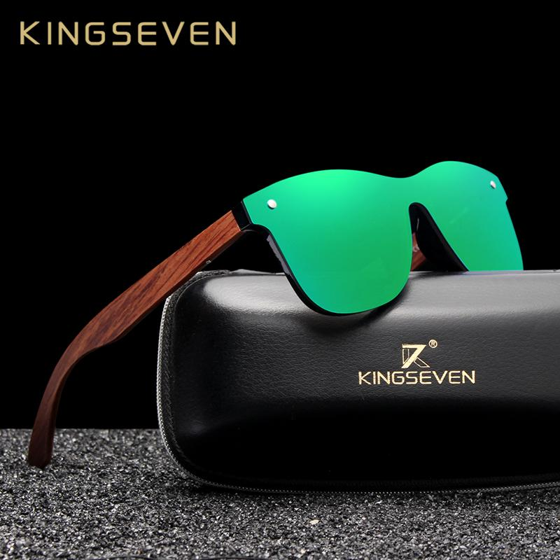 1a39e50998 KINGSEVEN Bubinga Wooden Men S Sunglasses Women Polarized Retro Rimless  Green Mirror Lens Sun Glasses Handmade Driving Eyewear Cat Eye Sunglasses  Round ...