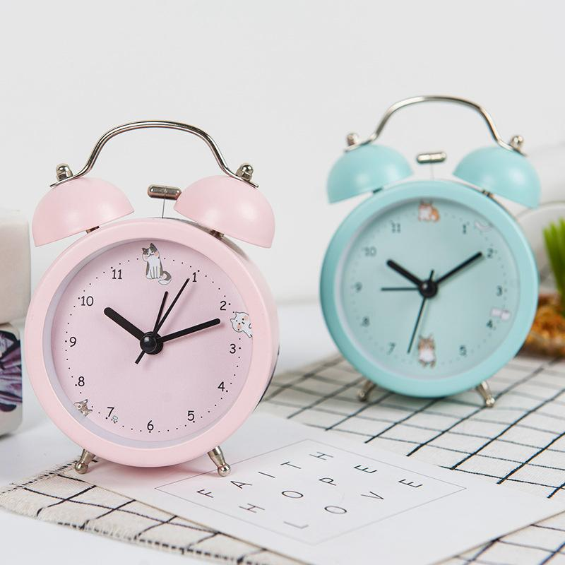 Creative Metal Cartoon Cute Cat Alarm Clock Decor Home Living Room Student  Bedroom Desktop Alarm Clock Decoration Birthday Gifts