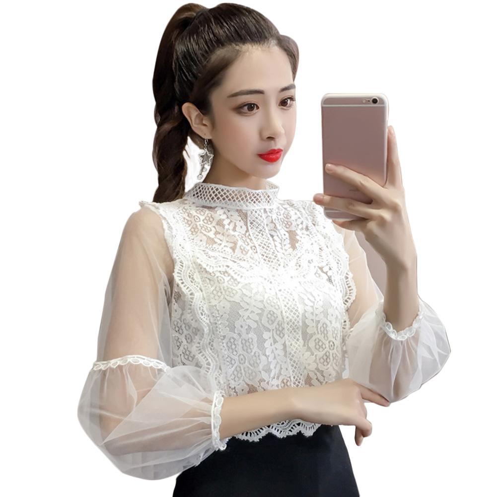 83e80a8b9d0 Mesh Lace Solid Fashion Party Retro Sweet Short Tops Pullover Women Blouse  Lantern Sleeve Spring Loose Shirts Voile Costumes