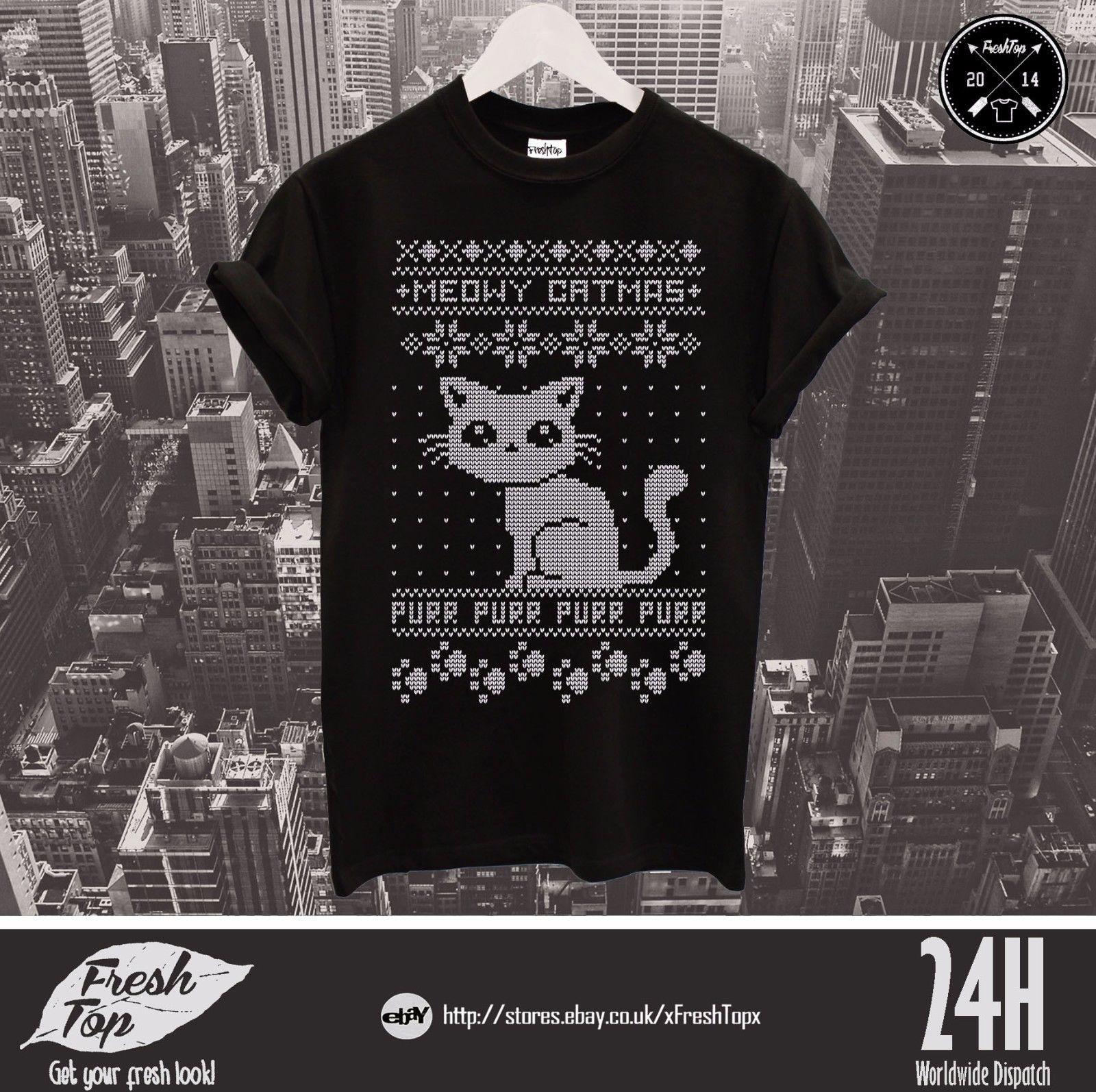 92fe9dfee Meowy Christmas T Shirt Top Purr Purr Merry Christmas Animal Lover Gift Cat  Summer O Neck Tee Custom Printed Tshirt All T Shirt Order Tee Shirts From  ...