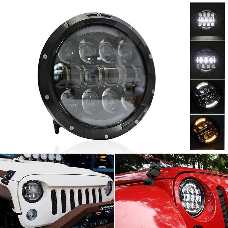 80w Indicateur Faisceau Yeux Phares Drl Led Angle Lumière 7inch Wrangler Hummer Faible H4 Haute Ronde Clignotant Pour Jeep JcFTlK1