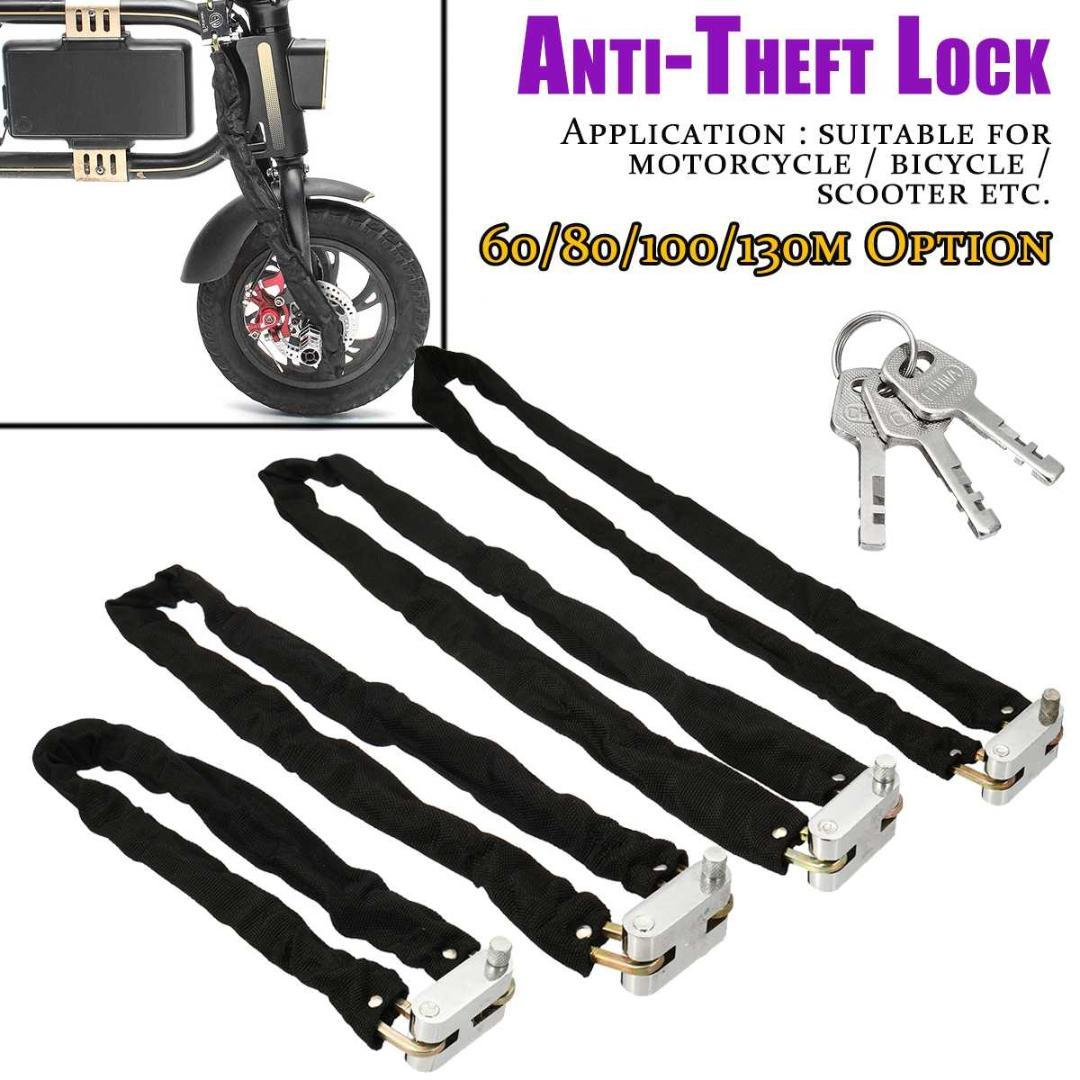 60/80/100/130cm Bicycle Lock Anti-Theft Outdoor Bike Chain Lock Security Reinforced Metal Heavy Motorbike Motorcycle Chain Locks