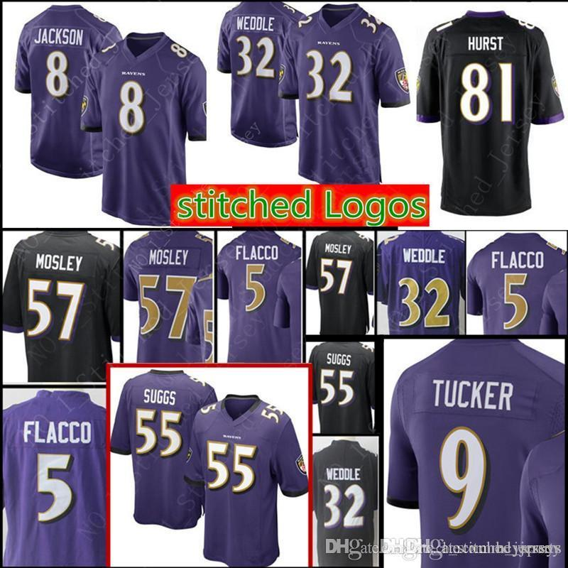 2018 9 Justin Tucker 81 Hayden Hurst 8 Lamar Jackson Baltimore Ravens Jersey  Men S 32 Eric Weddle 55 Suggs 57 C.J. Mosley Football Jerseys From  Heysports f10e35b1e