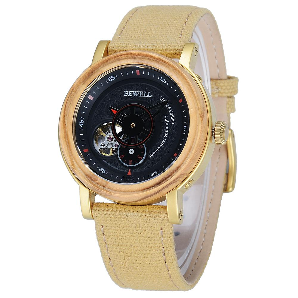 ef22e978040a7f BEWELL Brand Heren Horloge Natural Wood Design Wooden Mechanical Wristwatches  Automatic Relogio Male Forsining In Gift Box 158A Buy Wrist Watches Online  ...