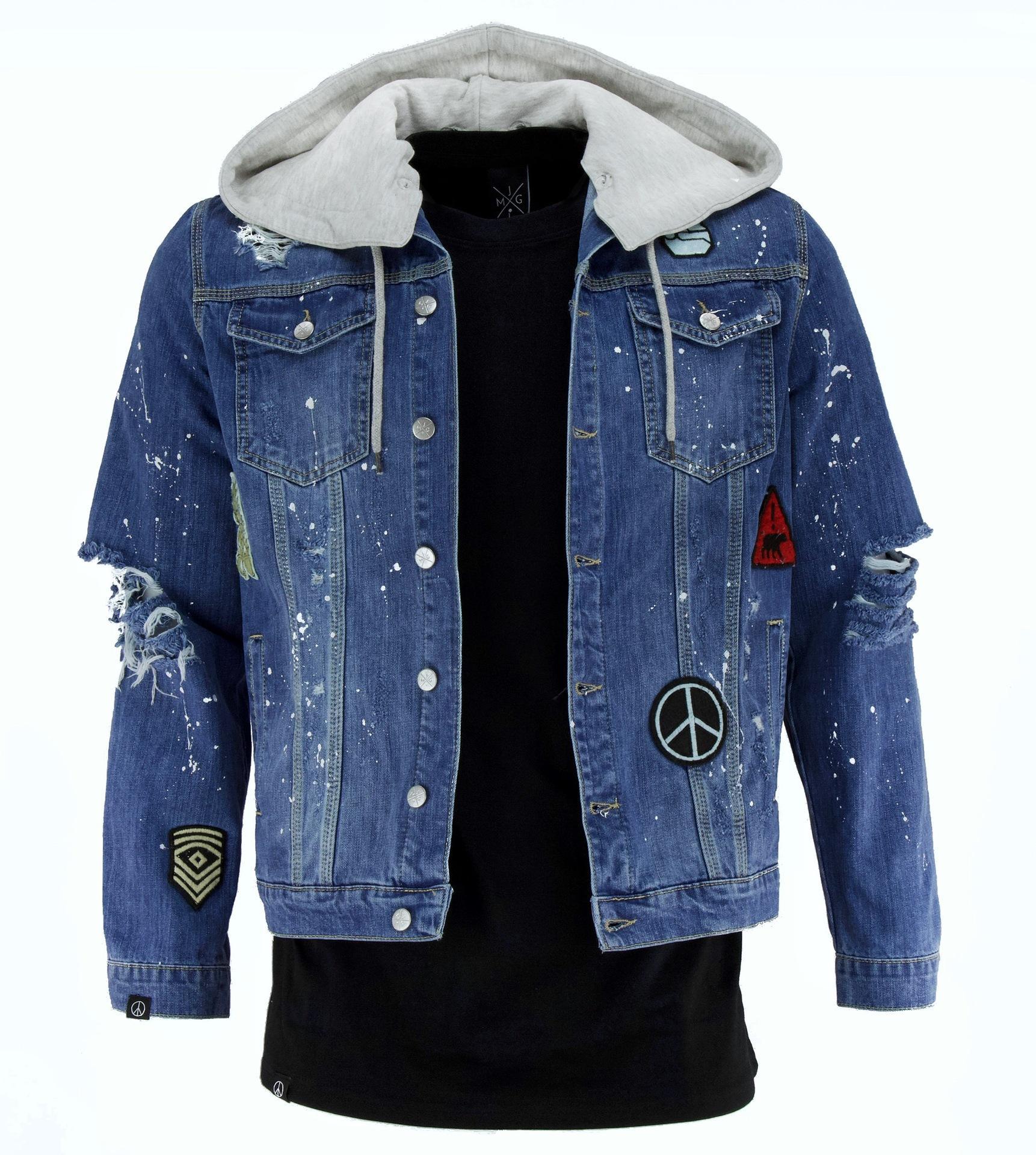 d7691508357b5 Satın Al Erkek Moda Yeni Bahar Denim Ceketler Yırtık Delik Hiphop Sokak Rahat  Ceket Mont, $64.4   DHgate.Com'da