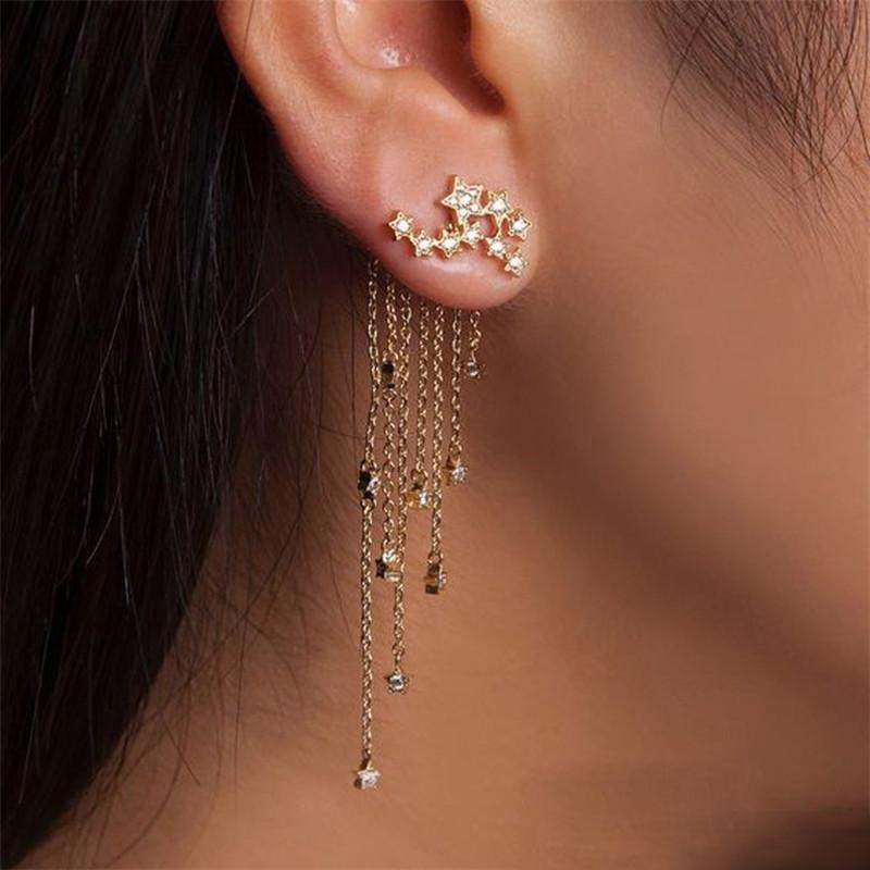 Shining Star Chain Tassel Alloy Earrings Golden Silver Women Eardrop Ear Stud Crystsal Ear Cuff Girls Jewelry Party Gifts Accessory
