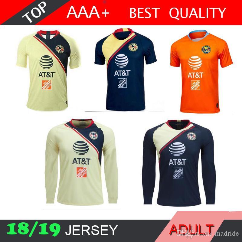 new product 396b3 79d82 America LONG mexico 2018 2019 LIGA MX Club Soccer Jersey C.DOMINGUEZ  R.JIMENEZ R.SAMBUEZA P.AGUILAR Home Away goalkeeper Football Shirt