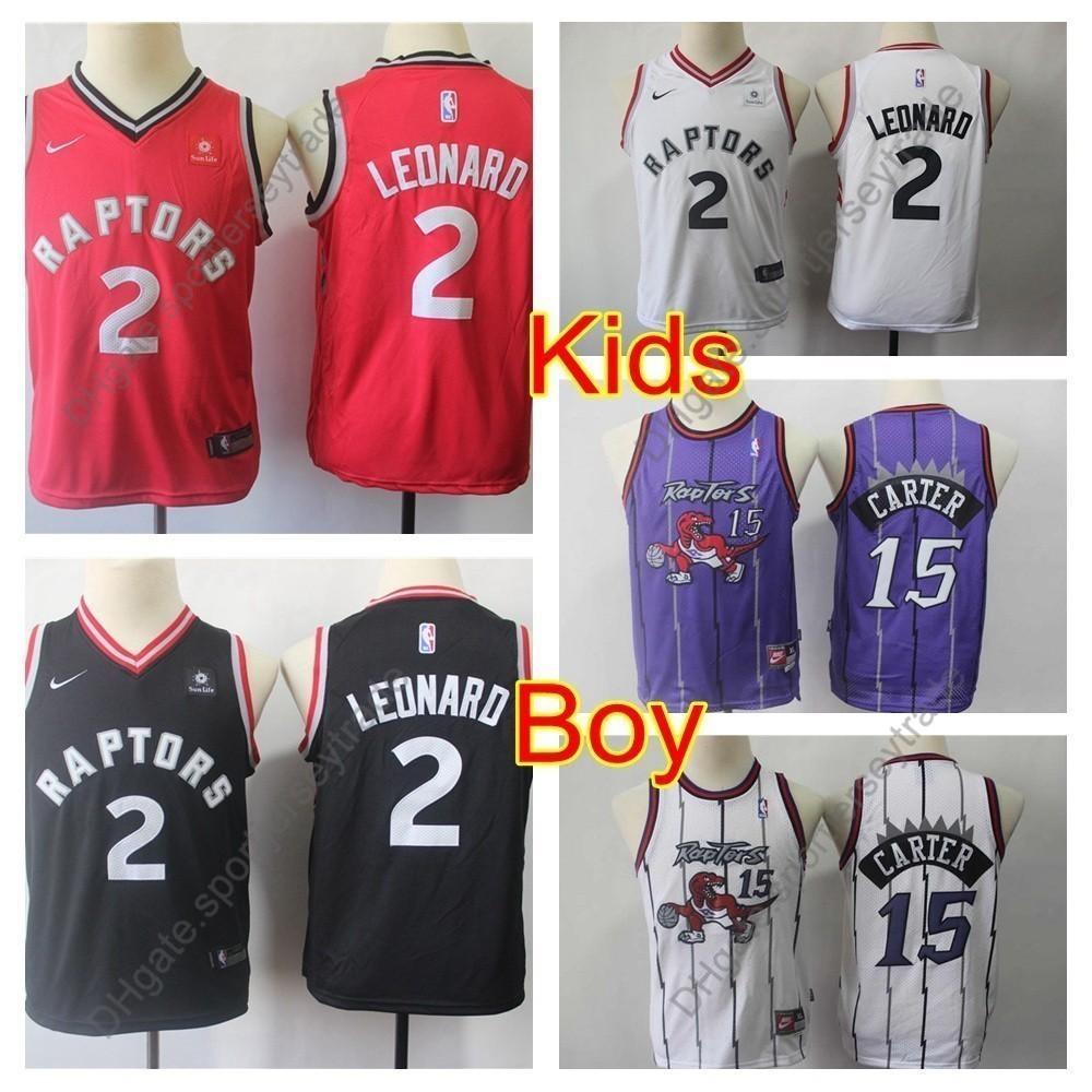 the latest a5861 a9c72 2019 Kids #2 Toronto Kawhi Leonard Boys Raptors Basketball Jerseys Youth  Vince Carter Vintage #15 Top Quality Stitched Shirts S-XL