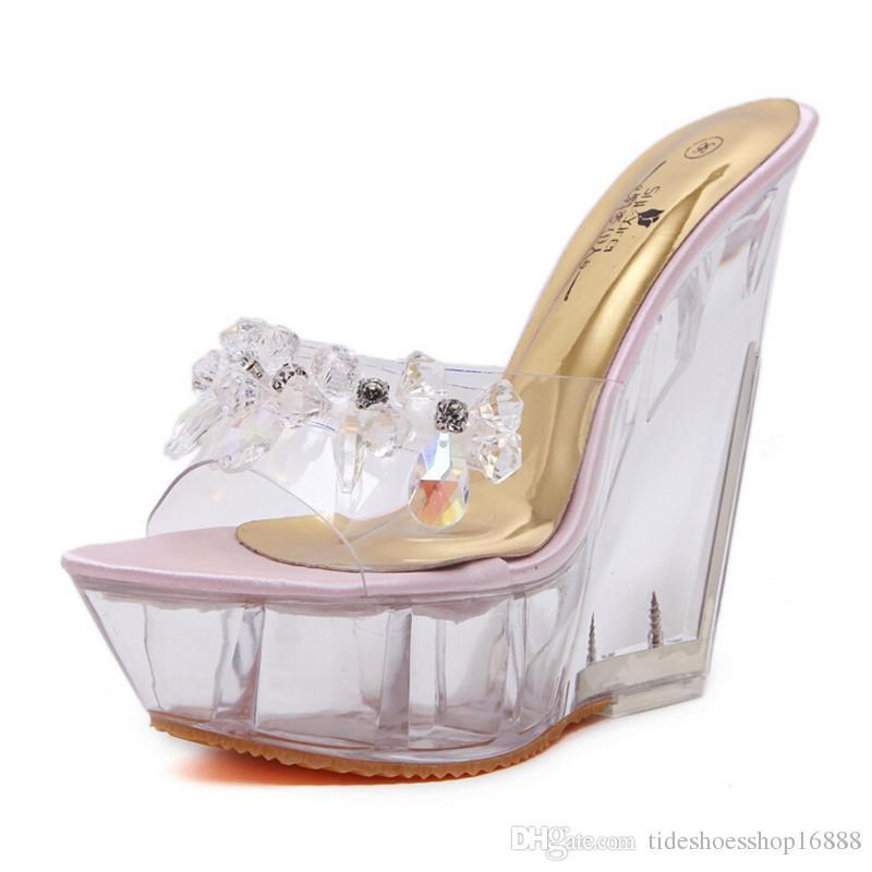 04bb9e14901 Crystal Platform Heels Women14CM High Heel Slippers Wedge Sandals Sapatos  Feminino Transparent Sandals Wild Summer Nightclub Sexy Mules Boots Online  Cowboy ...