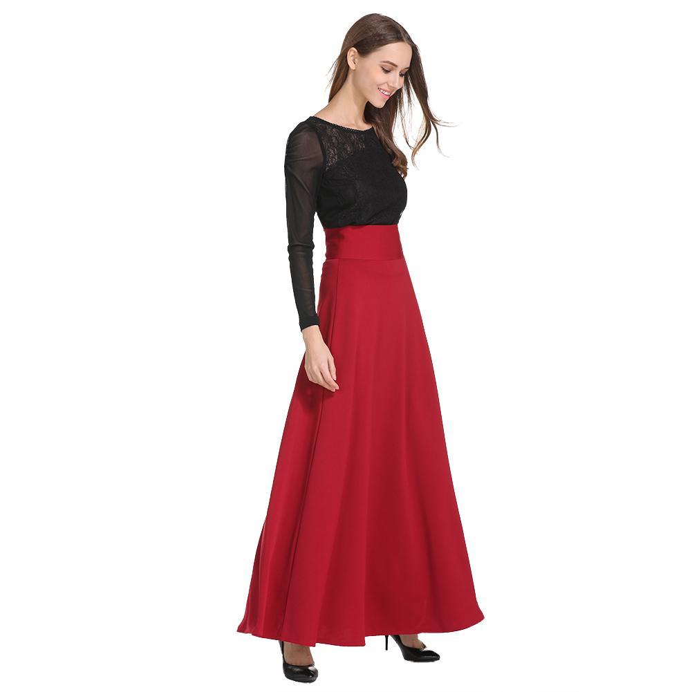 66054ab0d Nuevo Cintura alta Plisado Elegante Falda Vino Rojo Negro Color sólido  Faldas largas Mujeres Faldas Saia 5XL Tallas grandes para mujer Jupe