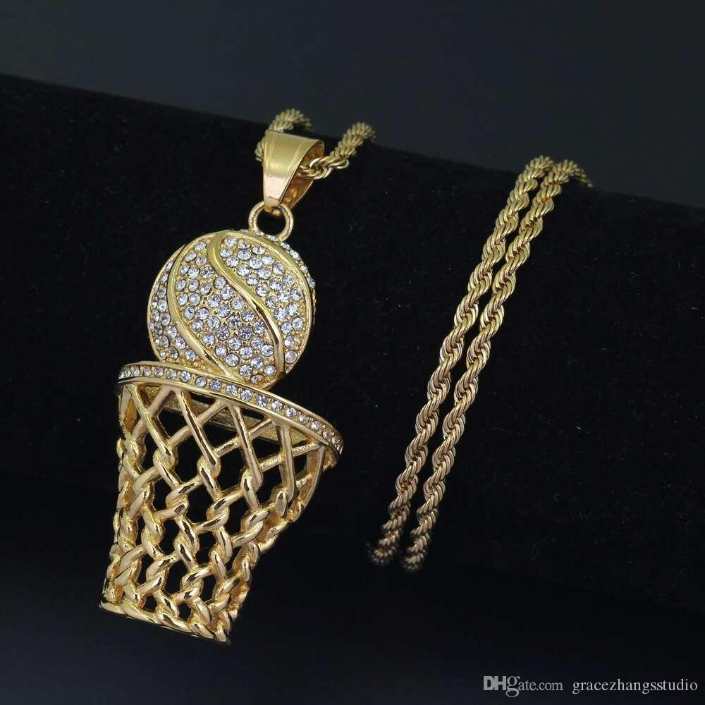 hip hop basketball diamonds pendant necklaces for men crystal basketball hoop luxury necklace Stainless steel Cuban chains jewelry
