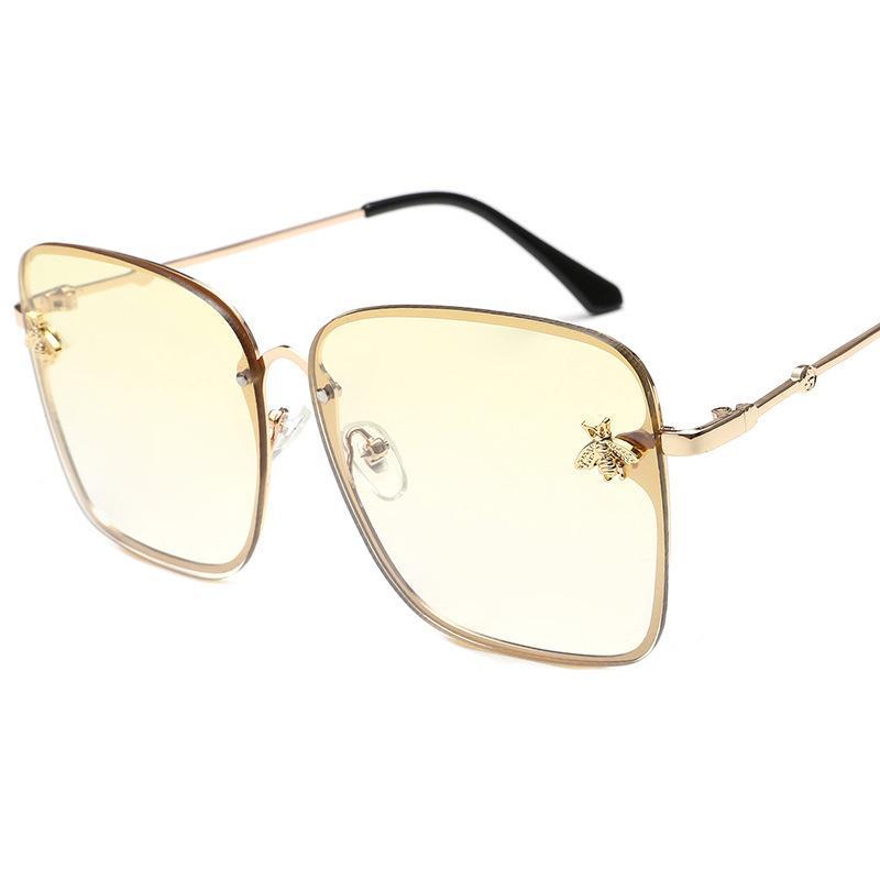 4c6c7ed6301 Retro Square Sunglasses Women Brand Designer Bee Metal Frame Oversized Sun  Glasses Fashion Female Gradient Shades Oculos Uv400 C19022501 Online  Eyeglasses ...