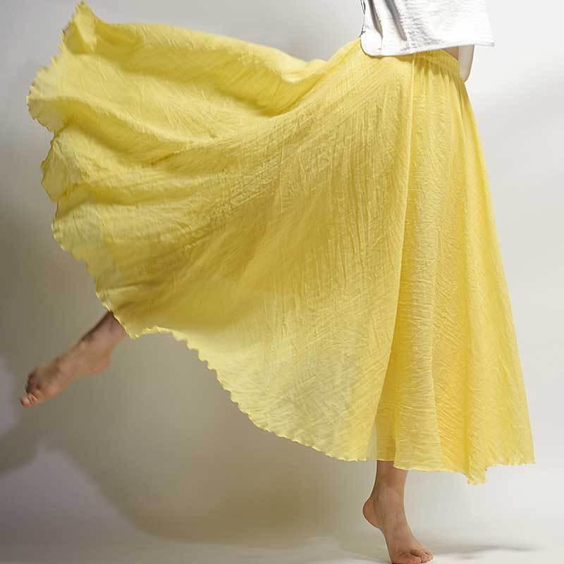 2019 de diseño de moda de verano falda de las mujeres de lino de la vendimia larga de algodón elástico de la cintura Faldas Boho Beige Rosa Maxi Faldas Faldas Saia