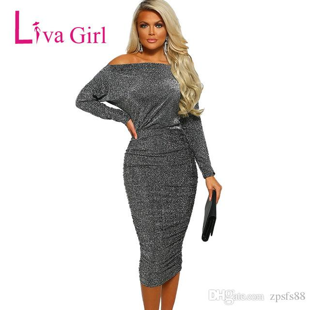 e14110dd9aa34 LIVA GIRL Elegant Ruched Bodycon Party Dress Women Spring Long Sleeve Off  Shoulder Sexy Midi Dresses Club Diamond Lady Vestidos Corset Dresses Dresss  From ...