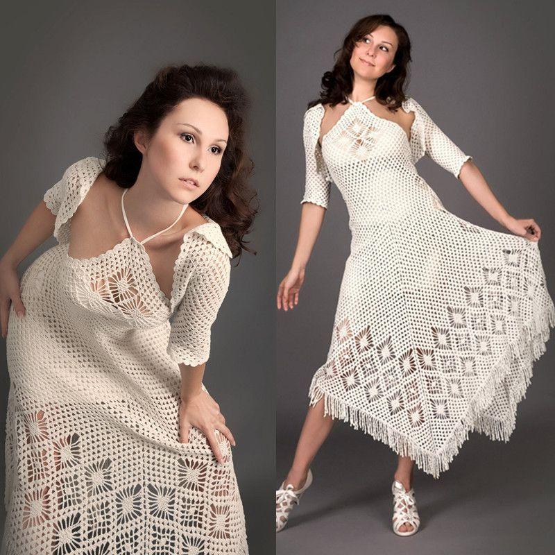 Compre Vestido De Crochet Blanco Exclusivo Con Top De Bolero De