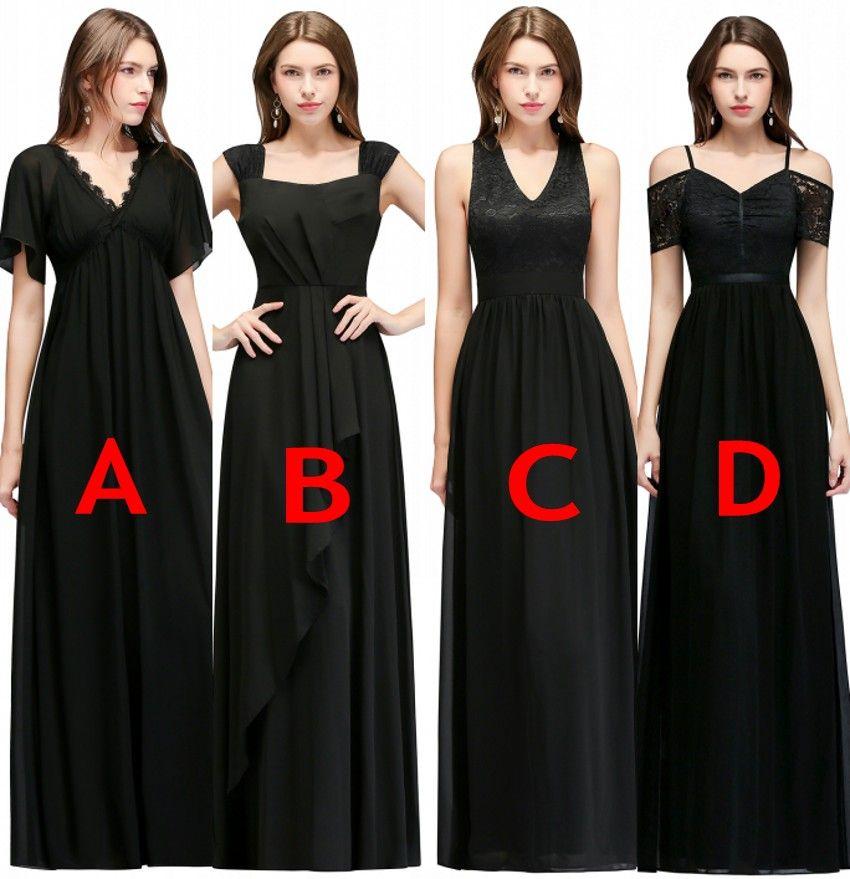 Under  40 Cheap Bridesmaid Dresses 2019 A Line Black Chiffon Wedding Guest  Long Prom Evening Party Gowns Vestido Longo CPS978 Petite Bridesmaid Dresses  Sage ... 39cfcc3a7832