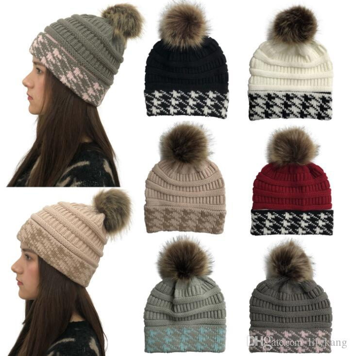 6c124ff9 Fur Pom Ball Knitted Acrylic Beanies Winter Warmer Jacquard Knit Hats  Adults Slouchy Mens Womens Sport Snow Cap Christmas Hat Warm Knit Warm Knit  Wool ...