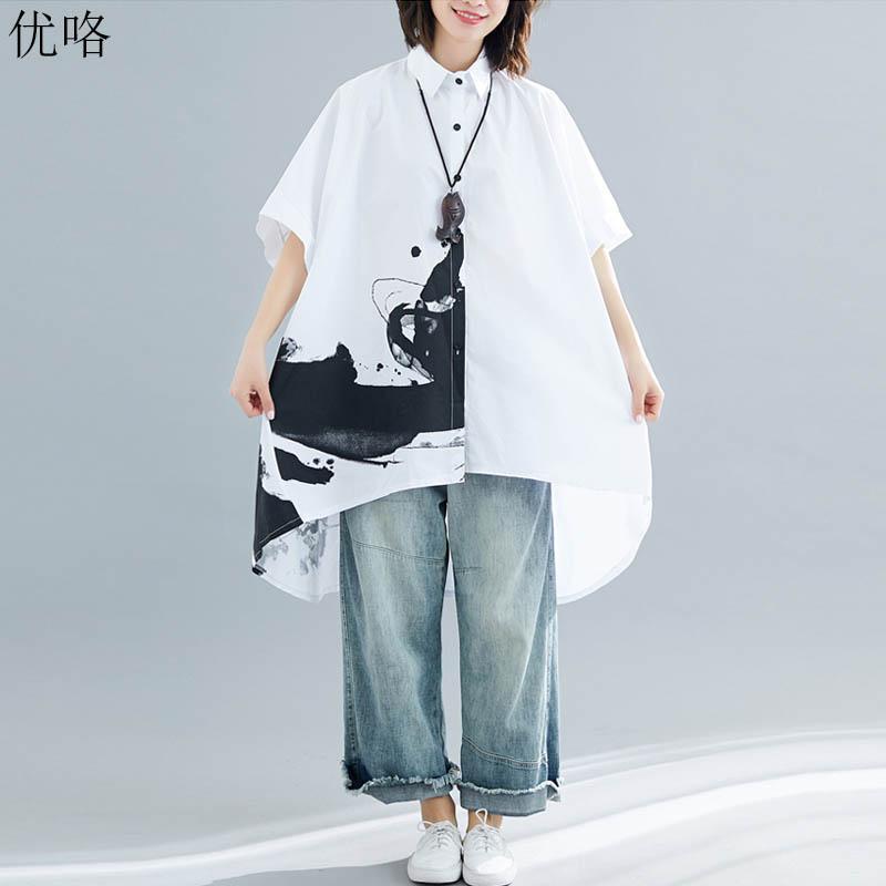 9e40247a18feb 2019 Summer New Big Size Women Blouse Shirts Plus Size Batwing Tunic Tops  Ladies Loose Art Print White Blouse Female 4XL 5XL 6XL