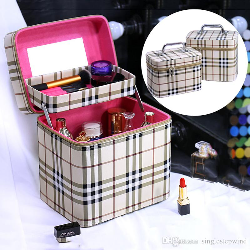 Plaid pattern fashion cosmetic bag large-capacity go-out portable cosmetic case multi-layer cosmetic storage box portable jewelry box