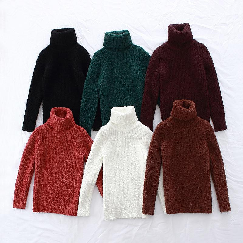 34795b40c Boys Girls Winter Sweaters Kids Turtleneck Thick Casual Cardigan ...
