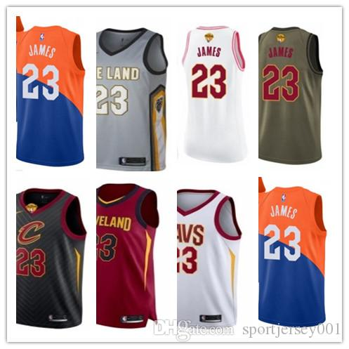 49b676258fb0 2019 Custom 2019 Cleveland Cavalier LeBron Jerseys  23 James Jerseys ...