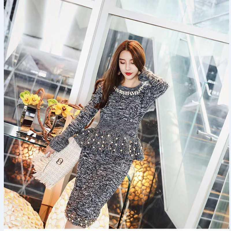 Knitted Women Sweaters Skirts Sets Pearls Long Sleeve Pullover Tops Skirt 2pcs Suits drop shipping good quality