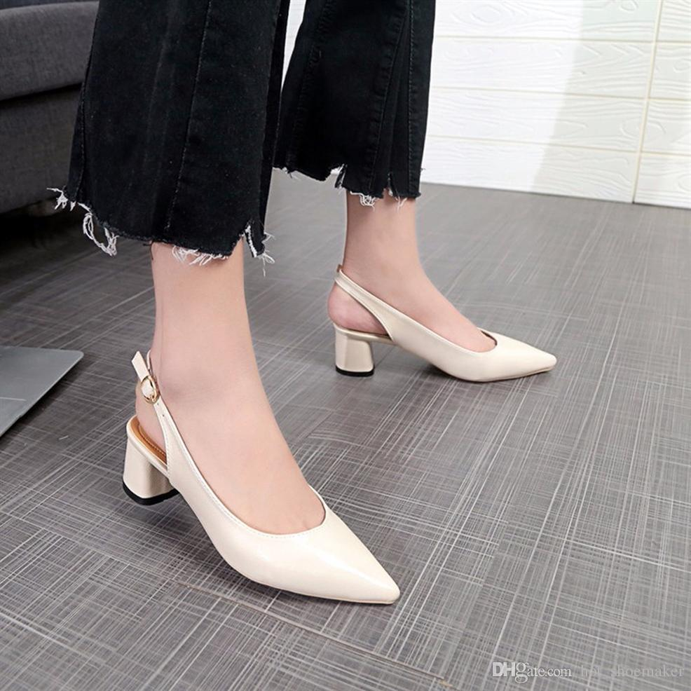 4ffaebe26a090 New Style Shallow Mouth Thick heel Pumps Ladies pointed toe office shoes  womens wedding shoes party dress shoe low heel #10157