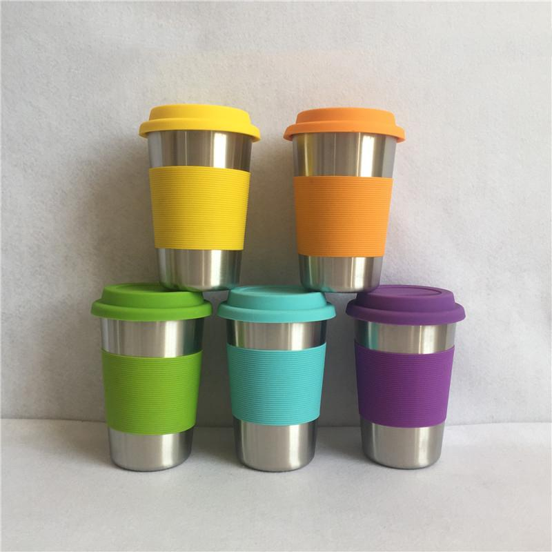 304 Copas de cerveza de acero inoxidable con funda de silicona Anti Scaled Sleeve para niños Niños Anti Dropping Cups 500ml