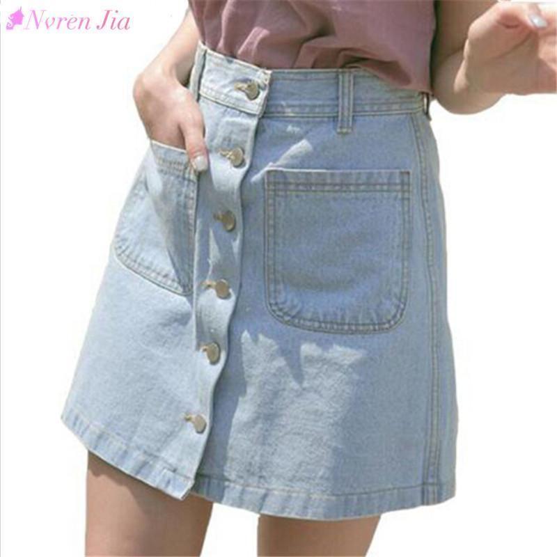2bc693ce1 Nuevas mujeres bonitas de verano faldas de moda de cintura alta faldas  faldas de mezclilla mini blue jeans falda de alta calidad de vaquero una  línea