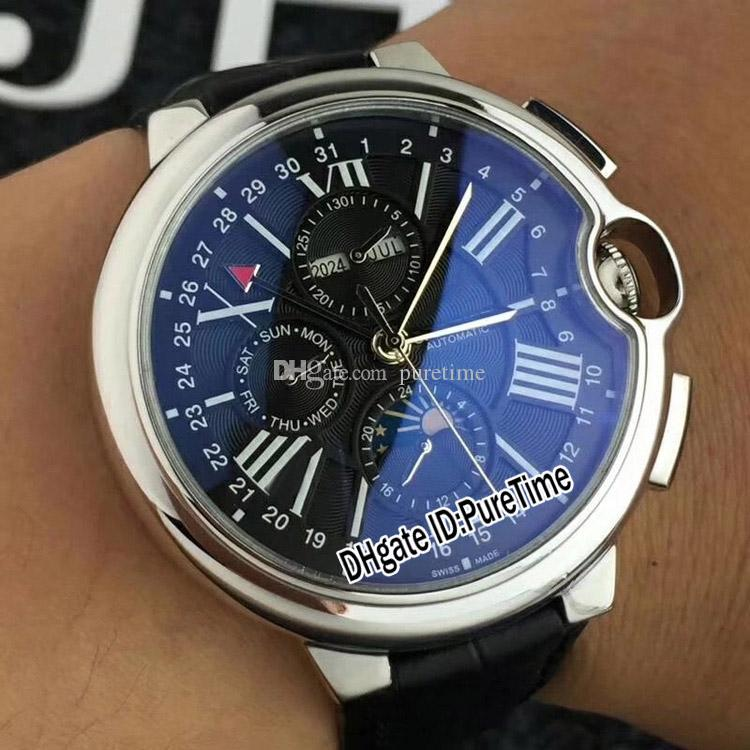 New Steel Case Black Dial Perpetual Calendar Daydate Moon Phase Automatic Mens Watch Black Leather Strap 10 Colors Cheap CAR-VPT14a1