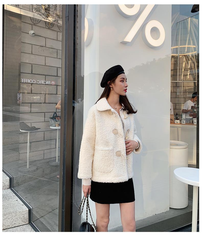 Autumn and winter new loose horn buckle imitation lamb hair long sleeve cotton coat jacket female small shirt SH190930