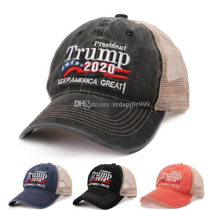 New Summer Trump 2020 Red Hat Mesh Baseball Cap Keep America Great Embroidery Letter Camouflage Army Trucker Hats