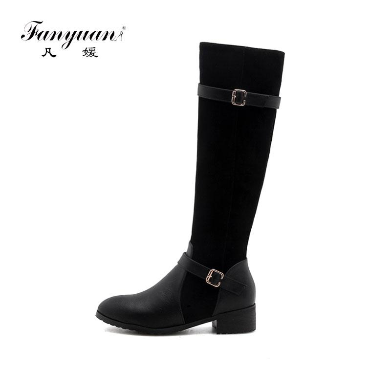 fffe8f4ad0ce Fanyuan Double Belt Buckle Motorcycle Boots Winter Mixed Colors Knee High  Boots Fashion Mid Heel Zipper Women Shoes Boots Uk Winter Boots From  Penbake, ...