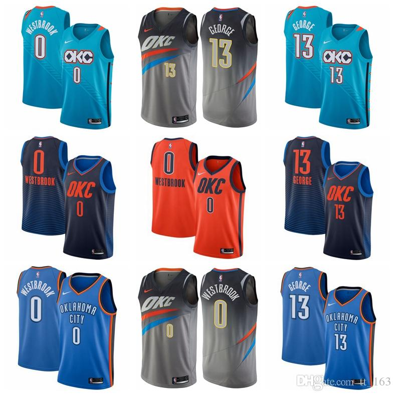 7b5f3497ece 2019 2019 Men Paul George Oklahoma Russell Westbrook City Thunder Fanatics  Branded Fast Break Player Jersey Statement Edition From Mengmengya, ...