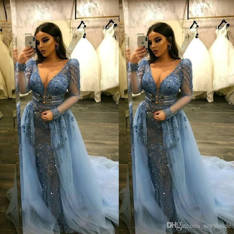 37fc3eeba2cb Designer Detachable Train Evening Dresses New 2019 Sexy V Neck Sheer Long  Sleeves Glitter Sequins Appliques Sparkly Arabic Prom Party Gowns Vintage  Style ...