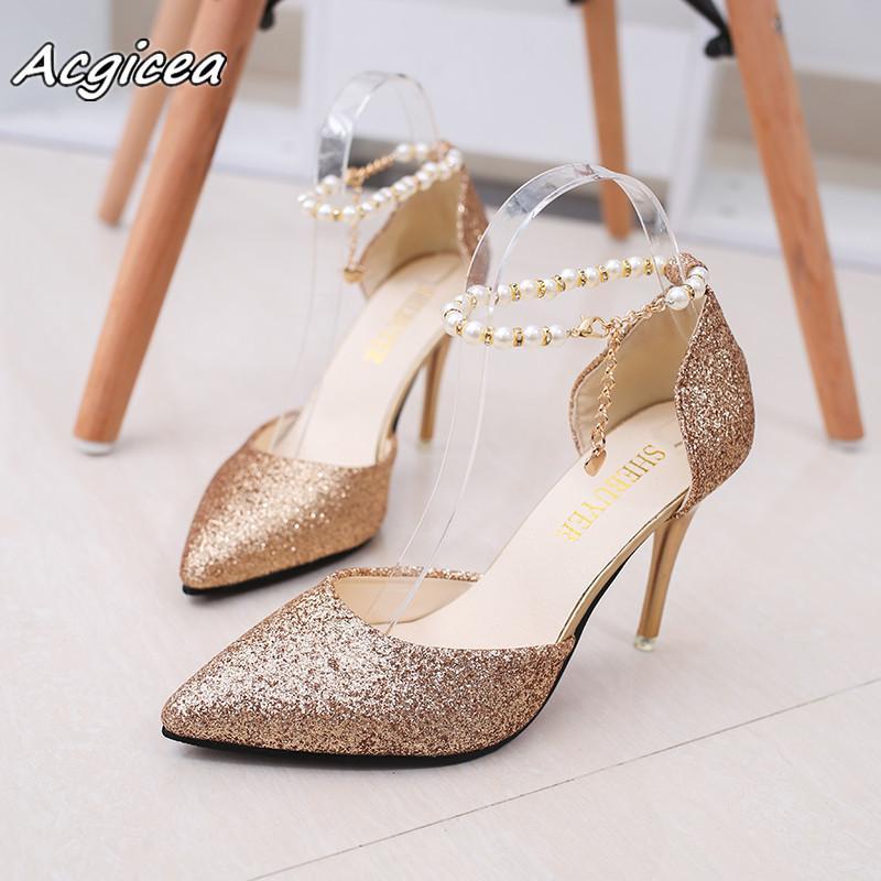Compre 2019 Zapatos De Tacón Alto De Oro Brillo De Primavera Puntiagudos  Con Plata Fina Con Zapatos De Dama De Honor Zapatos De Mujer Mujer A117 A   18.05 ... d0bd7d79e72