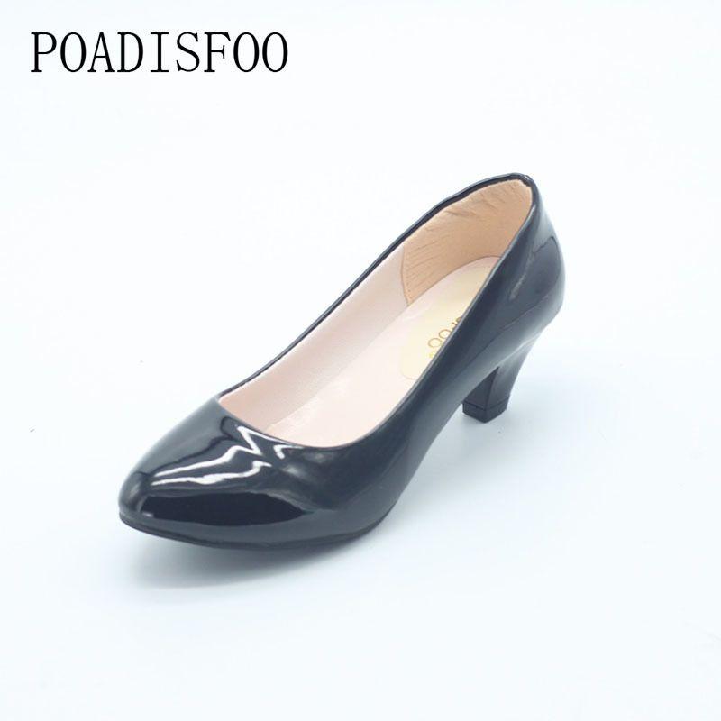 5735f0447514 Designer Dress Shoes Poadisfoo New Women S Classic Pumps For Woman Black  Matte Black Low Middle Heel Pumps For Women .Lss 501 Flat Shoes Online  Clothes ...