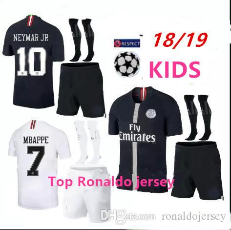 444fbe44e Kids Champions League Psg Soccer Jersey Kit Paris 18 19 MBAPPE Black ...