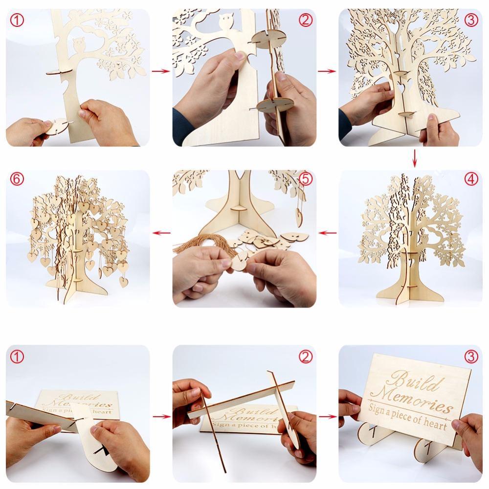 OurWarm Legno Albero Wedding Guest Book Guest Book 3D Wishing Tree cuori di legno ciondolo ornamenti di goccia nuziale della festa