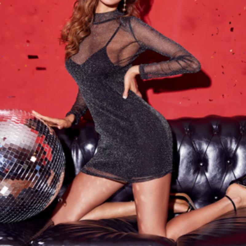 Seksi elbiseler kadın parti gece Siyah strappy Mesh Şeffaf BODYCON Akşam Clubwear Parti Mini Elbise Yüksek Bel Backless