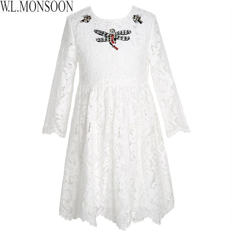 fbd58d9f4ae6 W.L.MONSOON Mädchen Brautkleider 2019 Marke Prinzessin Kleid Mädchen  Kleidung Weiß Spitze Stickerei Kinder Kleidung Kinder Kleid
