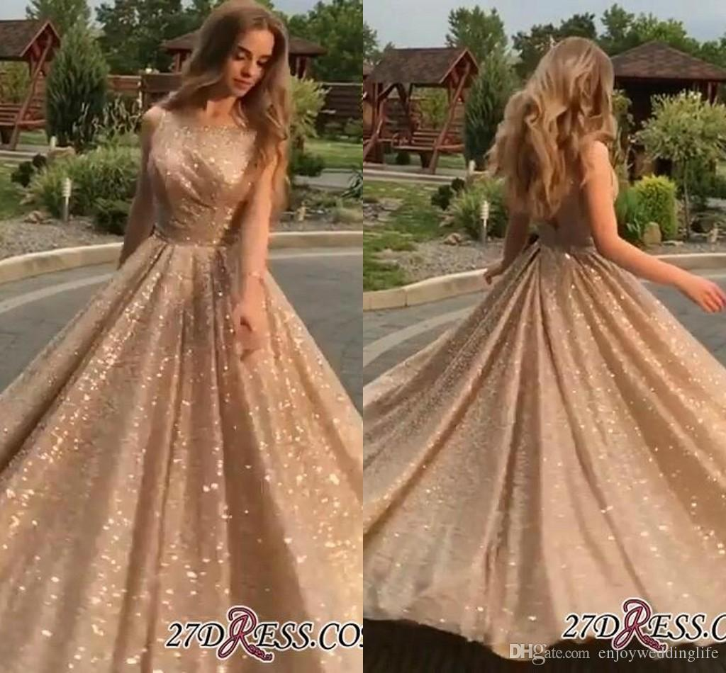 1999b6045a3000 2019 Gold Sparkly Sequined Long Prom Dresses Crew Neck Sleeveless Ruched Floor  Length Formal Party Evening Dresses BC0562 Cheap Prom Dresses Prom Dresses  Uk ...